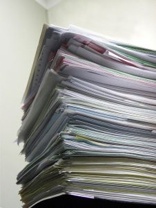 burnout pile of papers